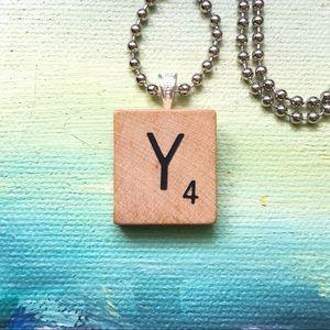 """1953 """"Y"""" Scrabble® Tile Initial Pendant Necklace"""